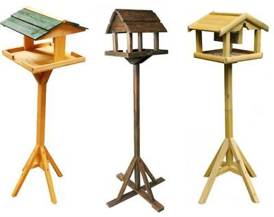 New Traditional Wooden Bird Table Feeder Seed Nuts Suet Fat Ball Feeding Station • 16.90£
