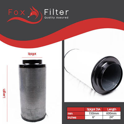 Hydroponic Fox Carbon Filter 6  Inch 150/600 For Extractor Fans Tents Grow Rooms • 69£