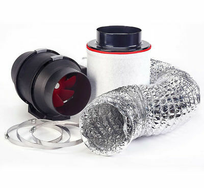 5  In Line Fan Carbon Filter Duct Kit Hydroponic Grow Room Tent Ventilation Plug • 115£