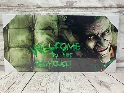 Welcome To The Mad House Joker Canvas Picture Heath Ledger Film Comic Book Movie • 13.99£