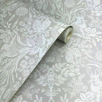Putty / Grey Woodland Damask, Rabbit, Hedgehog, Hand Painted Effect Wallpaper • 11.99£