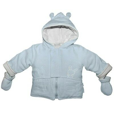 £24.95 • Buy COCO COLLECTION Baby Boy Pale Blue Velour Hooded Coat & Mittens BNWT 5029
