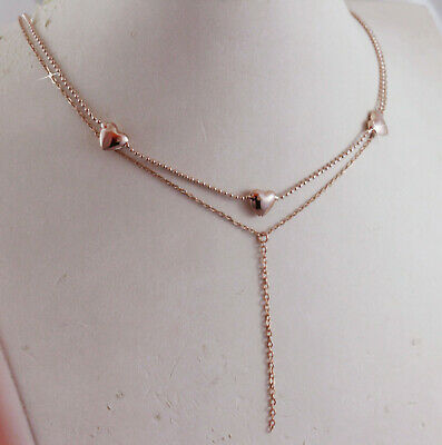 AU19.99 • Buy 18k 18ct Rose Gold GF Layered Multi Chain Heart Y Necklace