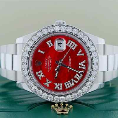 $ CDN16400.81 • Buy Rolex Datejust II 41MM Steel Watch Imperial Red MOP Diamond Dial And 4ct Bezel