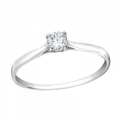 Round Solitaire CZ Sterling Silver 925 Engagement Eternity Ring - UK Seller • 9.80£