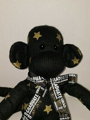 $ CDN19.35 • Buy Black Gold Star Monkey Sock Monkey Graduation Plush Floral Services GUC