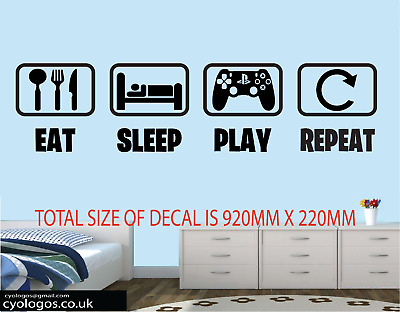 Eat Sleep Game Repeat - Gamer Wall Art Decals/Stickers - Various Colours • 8.49£