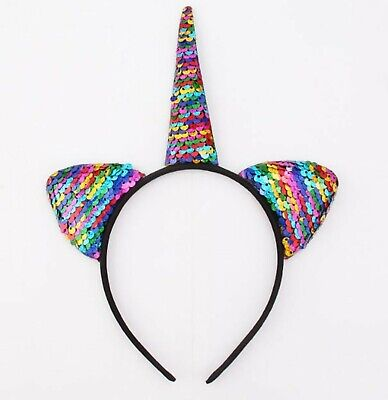 AU8.99 • Buy Women Lady Girl Colorful Sequins Unicorn Horn Ear Party Hair Headband Band Hoop