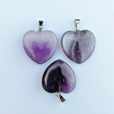 £3.49 • Buy Crystals Amethyst Heart Pendants & 18  Silver Necklace Chain
