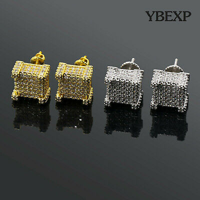 b45ea607f Mens 18K Gold Plated Iced Out Two-Tone CZ Micropave Square Earring Stud Hip  Hop