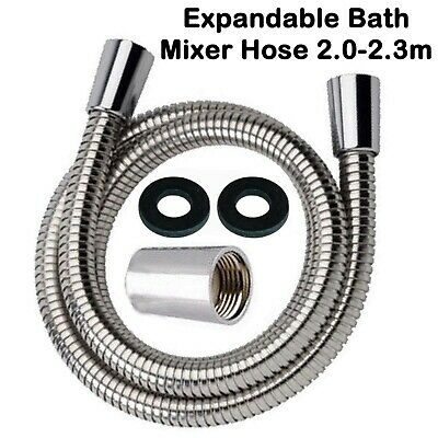£4.99 • Buy Bath Shower Tap Mixer Hose Expandable 2.0 -2.3m Pipe 1/2  Conical Connector Head