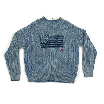 bcb21e2a09e773 Polo Ralph Lauren Mens Sweater Cable Knit U.S American Flag Blue Variety  Sizes • 116.97$
