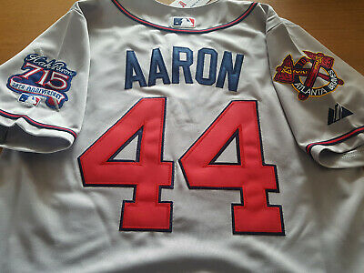 ccaa354d0 Brand New! Atlanta Braves  44 Hank Aaron W Dual Patches Sewn Jersey Gray