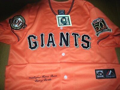 749b1c7a1f2 Brand New SF GIANTS  25 Barry Bonds 2patches Sewn Majestic Jersey ORANGE  Mens • 51.99