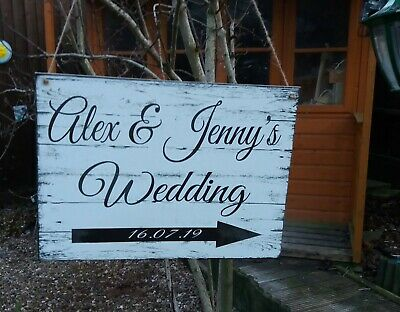 Rustic Wedding This Way Sign Wooden Arrow Personalised Wedding Decoration Large • 17.99£