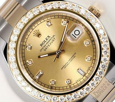 $ CDN21591.07 • Buy Rolex Datejust II 41mm 116333 TT/SS 18k 3CT Diamond Bezel Champagne Diamond Dial