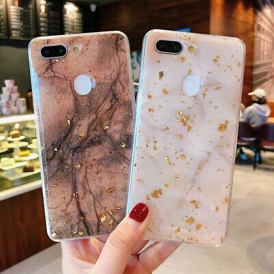 AU9.98 • Buy Bling Cover F OPPO A73 AX7 R17 Fashion Glitter Gold Foil Epoxy Marble Back Case