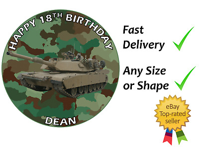 £4.99 • Buy Army Tank Camo Personalised Cake Topper Edible Icing Or Wafer