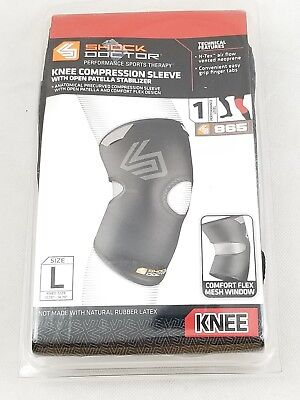 a632973c43 LARGE Shock Doctor Compression Knit Knee Sleeve # 865 Open Patela  Stabilizer • 8.75$