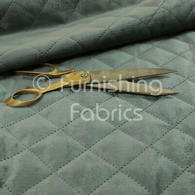 New Quality Modern Quilted Velvet Plain Upholstery Furnishing Fabric Soft Grey • 29.99£