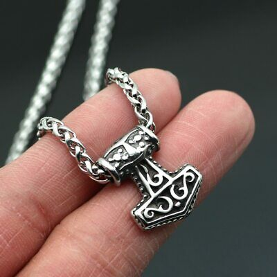 AU20.46 • Buy Stainless Steel Viking Small Tiny Thor's Hammer MJOLNIR Pendant Necklace
