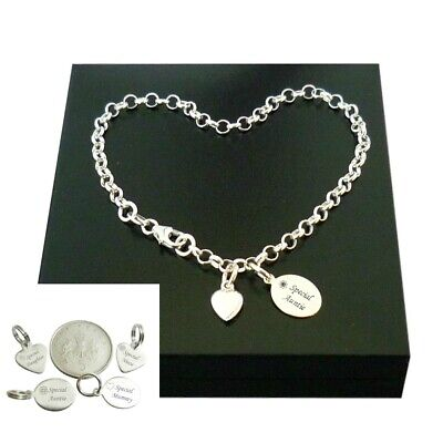 Sterling Silver Charm Bracelet With Engraved Tag For Daughter, Mum, Auntie Etc • 19.99£
