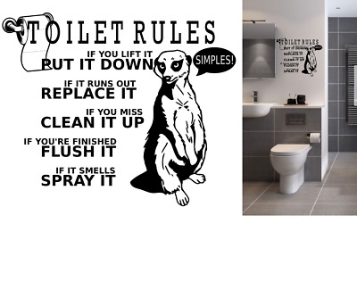 Wall Art Toilet Rules Quote Vinyl Wall Stickers Removable Home Decor** • 2.99£