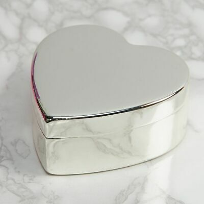 Personalised Silver Plated Heart Jewellery/Trinket Box - Engraved Message  • 21.99£