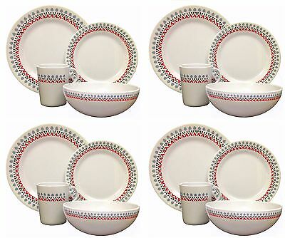 £36.99 • Buy 16pcs Melamine Dinner Set Plates Bowls Cups Outdoor Dining Camping Family Picnic