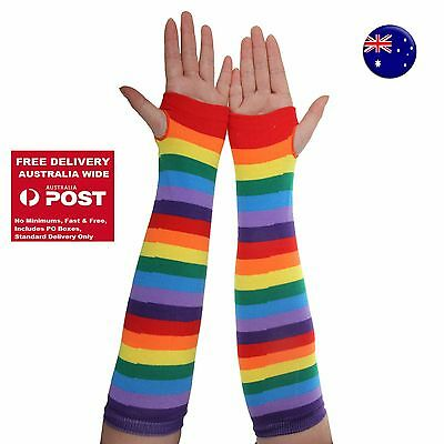 AU11.62 • Buy Women Girl Party Rainbow Colorful Stripe Long Arm Fingerless Gloves Mittens