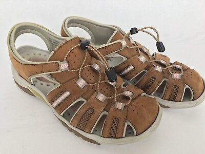 6ce2b82641fa Womens Clarks Privo Sandals Brown Leather Size 9.5M Hiking Walking Casual •  27.99