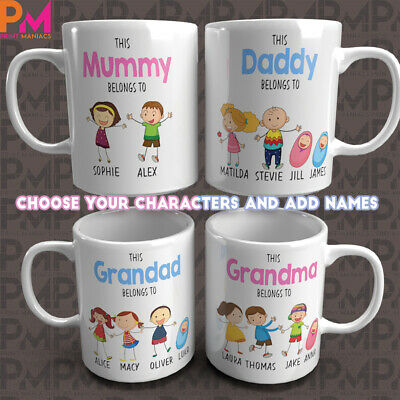 Mothers Day Gift Family Tree Personalised Stick Word Art Mum Dad Mug Christmas • 7.99£