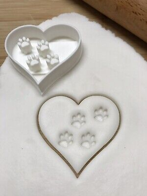 Love Heart Paw Print Cookie Cutter For Biscuits, Pastry, Fondant • 4.99£