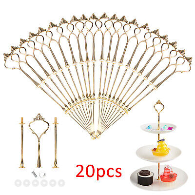 £12.99 • Buy 20x 3 Tier Cake Cupcake Plate Gold Stand Rack Fittings Handle Rod Wedding Party