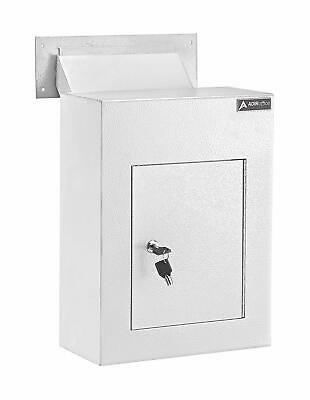 $139.95 • Buy AdirOffice White Steel Mail Box Through-the-Wall Paper Key Drop Box With Chute