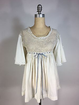 £128.03 • Buy Antique EDWARDIAN 1910's Cotton Lace Nightgown-turned-blouse W/angel Sleeves