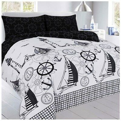 Jake Nautical Duvet Set - Single Double King  Black & White Sailing Bedding • 24.95£