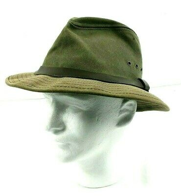 37a9a474b51 Vintage CC Filson Tin Cloth Packer Hat Hunting Fishing Size Large Otter  Green • 54.95