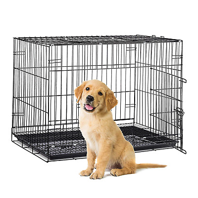 View Details Relaxdays Folding Metal Dog Crate Tray Travel Carrier, Indoors Pet Kennel, Black • 74.41£
