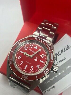 $ CDN104.21 • Buy  Vostok Komandirskie 650840 Watch Automatic Russian Wrist Watch Red New