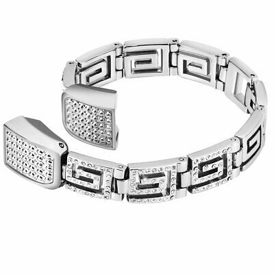AU40.73 • Buy For Fitbit Alta Bracelet Band Silver Stainless Steel Metal Wristband Greek Key