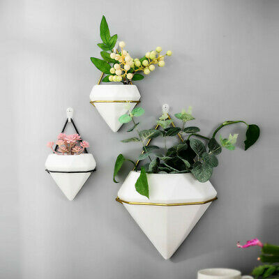 Home Wall Hanging Plant Flower Pots Ceramic Planter Metal Stand Box Holder Decor • 19.75£