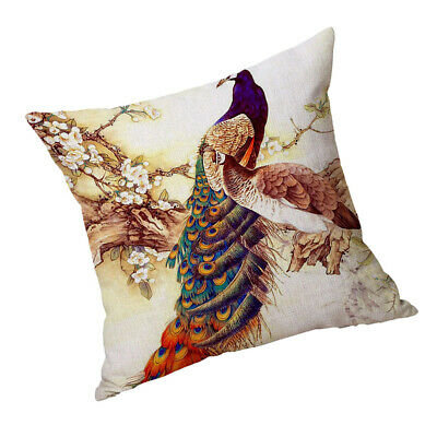 Square Cushion Cover Home Bed Sofa Decor Two Peacocks 60x60cm • 6.86£