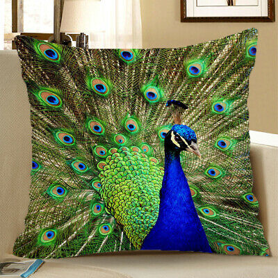 Square Cushion Cover Home Bed Sofa Decor Green Peacock 60x60cm • 6.97£