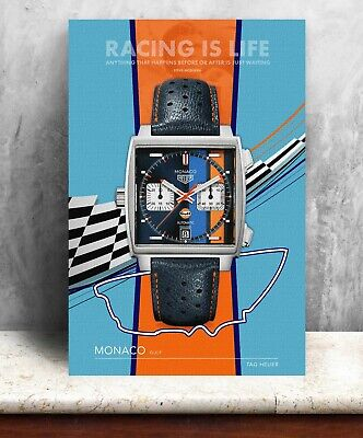 Tag Heuer Monaco / Steve McQueen Watch Print. Bold Graphic Art On Canvas • 45£