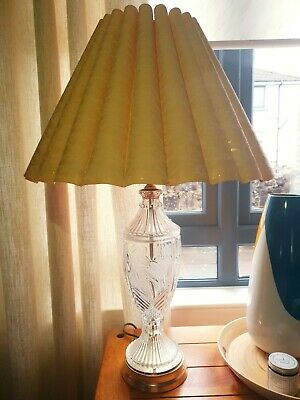 Vintage Crystal Lamps, Peach/light Pink Lace Lampshade, Gold Base • 90£