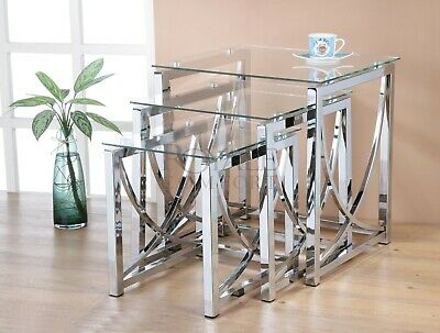 Eclipse Glass Nest Of Tables 3 Clear Black Modern Set Side Lamp End Table • 98.99£