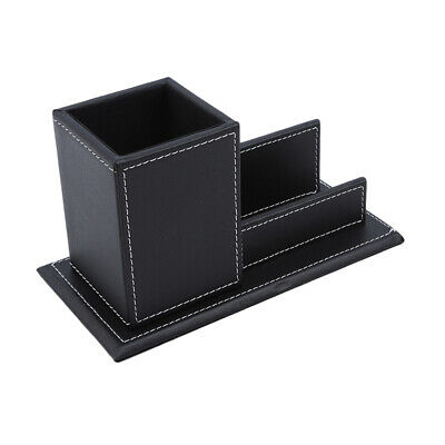 £9.63 • Buy Pu Leather Desk Stationery Organizer Storage Box Pen Card Holder Box LH