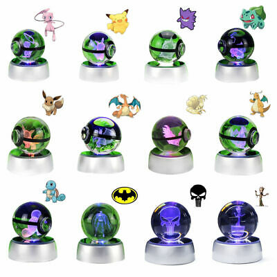 Pokemon Meotwo Pokeball Crystal Ball 3D LED Laser Night Light Table Desk Lamp • 16.49£