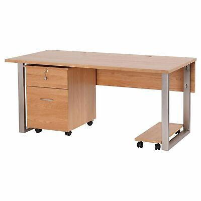 Newland Oak Office Furniture Computer Desk With Filing Cabinet And Tower Trolly • 825£